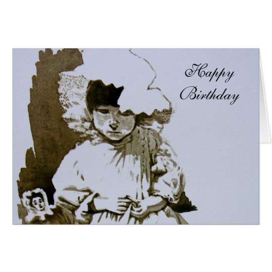 Victorian Child with Doll  Happy Birthday Card