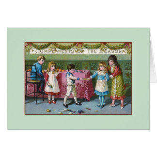 Victorian Children and Christmas Crackers Card
