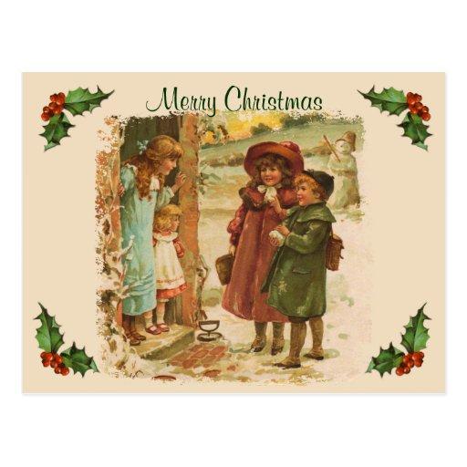 Victorian Children Christmas Break Postcard