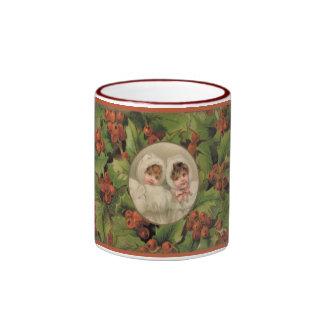 Victorian Children Christmas Coffee Cup Ringer Coffee Mug