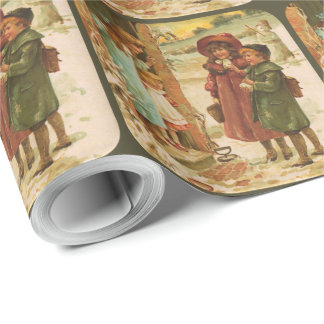 Victorian Children Christmas Wrapping Paper