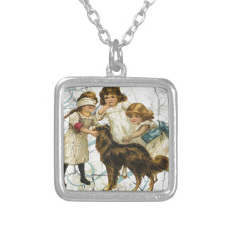 Victorian Children Dog Playing Hide Seek Square Pendant Necklace