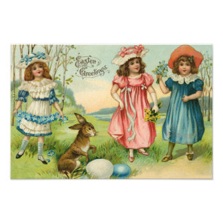 Victorian Children Easter Bunny Colored Egg Photo Print
