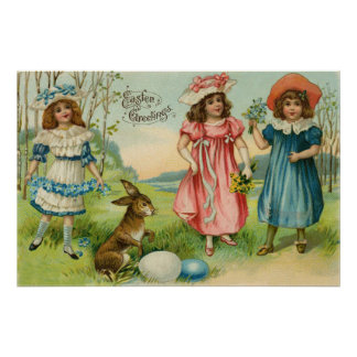 Victorian Children Easter Bunny Colored Egg Poster