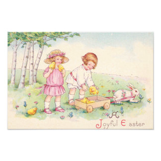 Victorian Children Easter Chick Bunny Field Photo Print