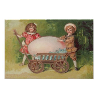 Victorian Children Easter Egg Forget Me Nots Wagon Photo Print
