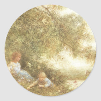 Victorian Children Playing Outside Classic Round Sticker