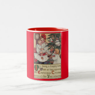 Victorian Children Red Vintage Christmas Mug