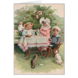 Victorian Children Tea Party Note Card Greeting Card