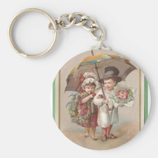 Victorian Christams Greeting Card 1885 Basic Round Button Key Ring