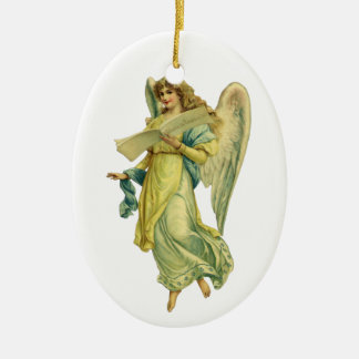 Victorian Christmas Angel, Gloria in Excelsis Deo Ceramic Oval Decoration