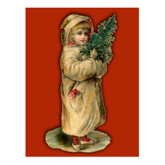 Victorian Christmas Cards Child with Tree Postcard