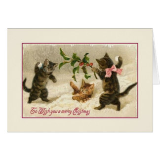 Victorian Christmas Cats Greeting Card