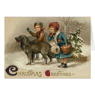 Victorian Christmas Children and Dog Greeting Card