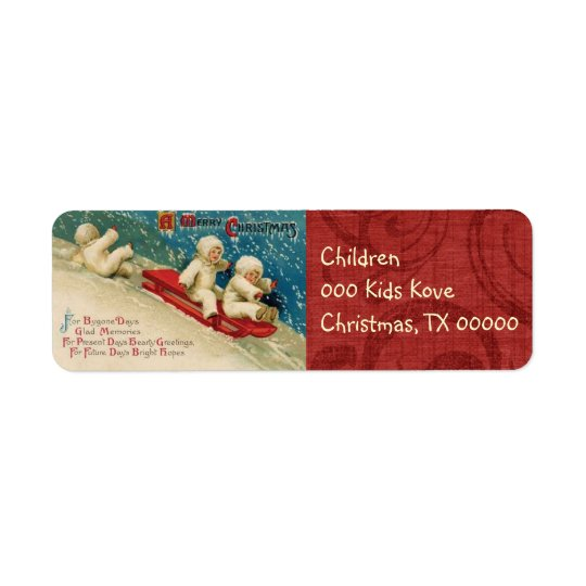 Victorian Christmas Children Return Address Labels