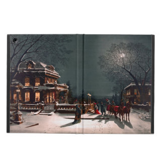 Victorian Christmas Eve Party Mansion Sleigh Snow Case For iPad Air