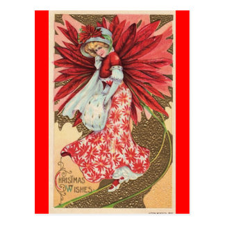 victorian christmas fairy girl postcard