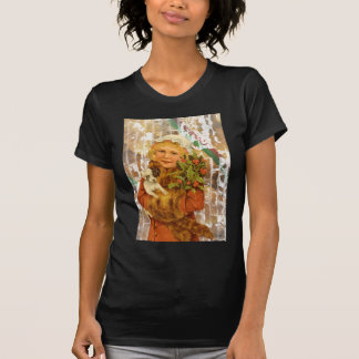 Victorian Christmas Girl With Puppy Dog Tee Shirt