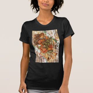 Victorian Christmas Girl With Vintage Sled T Shirt