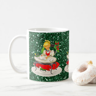 Victorian Christmas Girl Writing Green FauxGlitter Coffee Mug