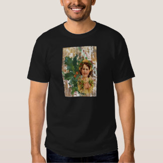 Victorian Christmas Holly Girl Vintage T Shirt