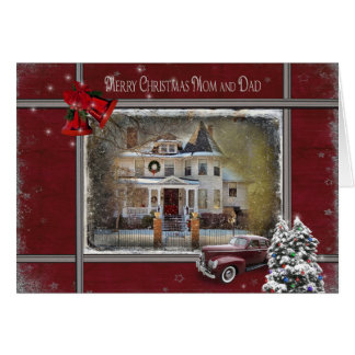 Victorian Christmas house for Mom and Dad Greeting Card