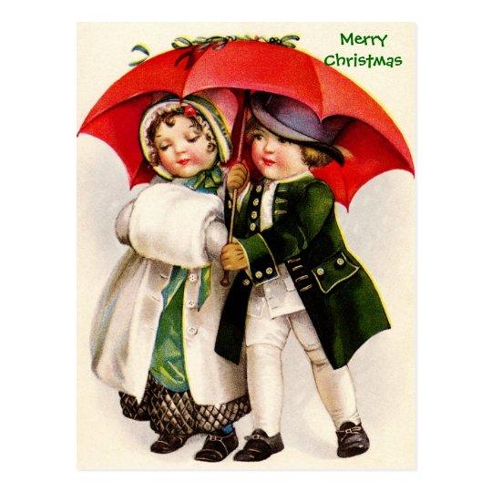 Victorian Christmas Image Children & Umbrella Postcard
