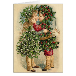 Victorian Christmas Kiss Card