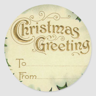 Victorian Christmas Name Tags for Gifts Round Sticker