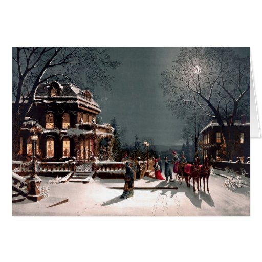 Victorian Christmas Party Greeting Card