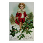 Victorian Christmas postcard depicting a boy Poster
