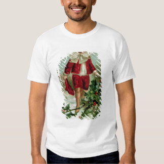 Victorian Christmas postcard depicting a boy T-shirt