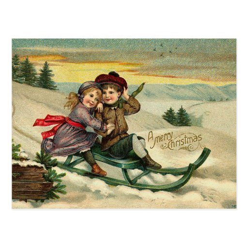 Victorian Christmas Sledding Postcards