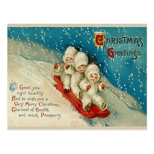 Victorian Christmas Snow Baby Postcards