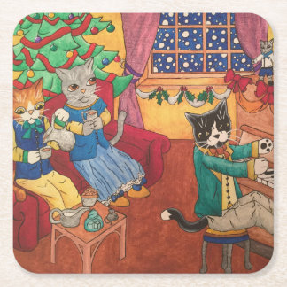 Victorian Christmas Square Paper Coaster