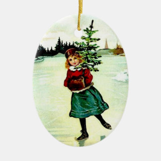 Victorian Christmas Tree Girl Ceramic Oval Decoration