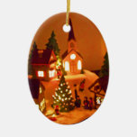 Victorian Christmas Village Double-Sided Oval Ceramic Christmas Ornament