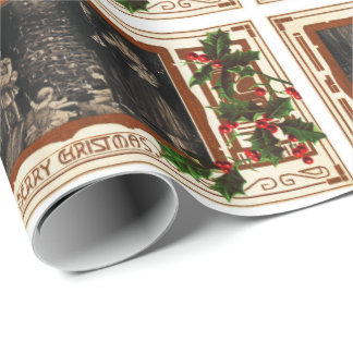 Victorian Christmas Vintage Family Holly Wrapping Paper