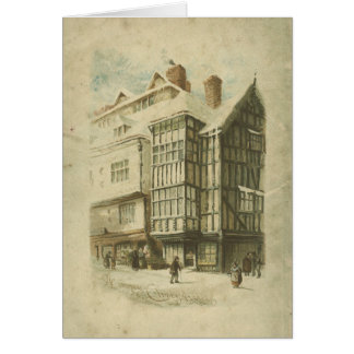 Victorian Christmas Vintage Town Scene Distressed Greeting Card
