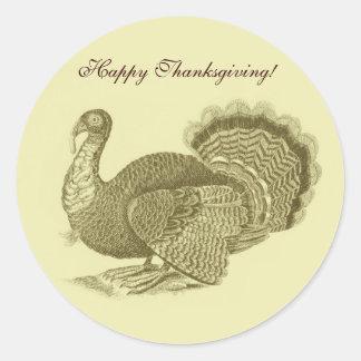 Victorian classic thanksgiving turkey classic round sticker