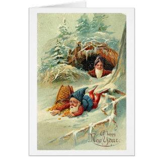 Victorian Clumsy Dwarf Happy New Year Greeting Greeting Card