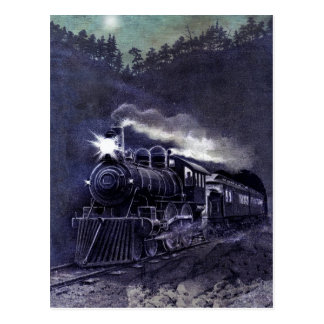 Victorian Colored Etching - Steam Engine Train Postcard