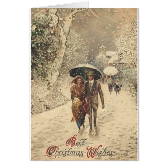 Victorian Couple in Snow Christmas Card