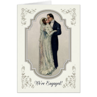 Victorian Couple in Wedding Dress Engagement Card