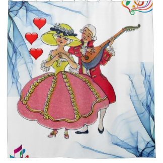 victorian couple music hearts white shower curtain