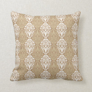 Victorian Cream Gold Vintage Damask Lace Pattern Cushion