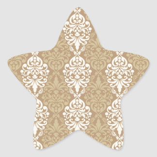 Victorian Cream Gold Vintage Damask Lace Pattern Stickers