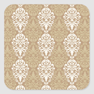Victorian Cream Gold Vintage Damask Lace Pattern Square Stickers