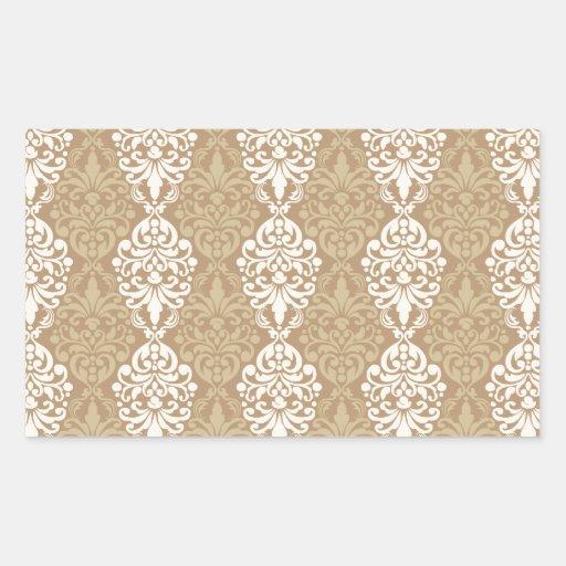 Victorian Cream Gold Vintage Damask Lace Pattern Rectangular Sticker