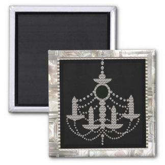 Victorian Crystal Chandelier Wedding Monogram Magnet